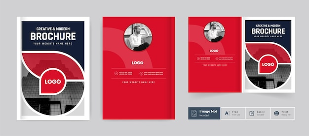Brochura comercial modelo de tema de capa de design colorido moderno mínimo bi dobra brochura corporativa