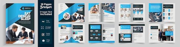 Brochura corporativa azul com layout de gradiente azul de 16 páginas
