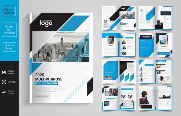 Brochura corporativa azul e preta