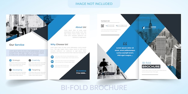 Brochura corporativa bi-fold com modelo azul