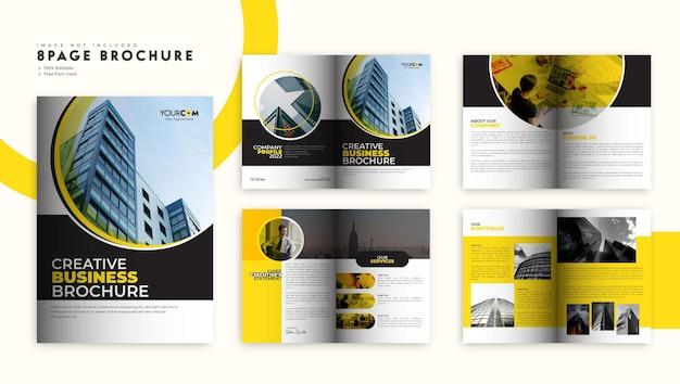 Brochura corporativa da empresa em laranja e preto ou layout minimalista do modelo de perfil da empresa
