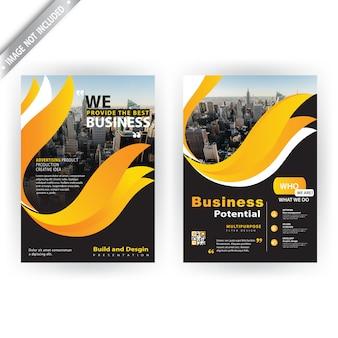 Brochura corporativa de forma amarela