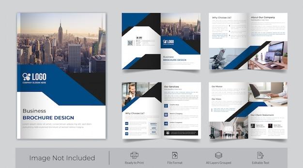 Brochura corporativa de oito páginas Vetor Premium