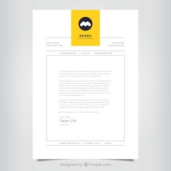 Brochura corporativa simples com uma aba amarela