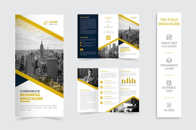 Brochura da empresa com três dobras amarelas e brancas