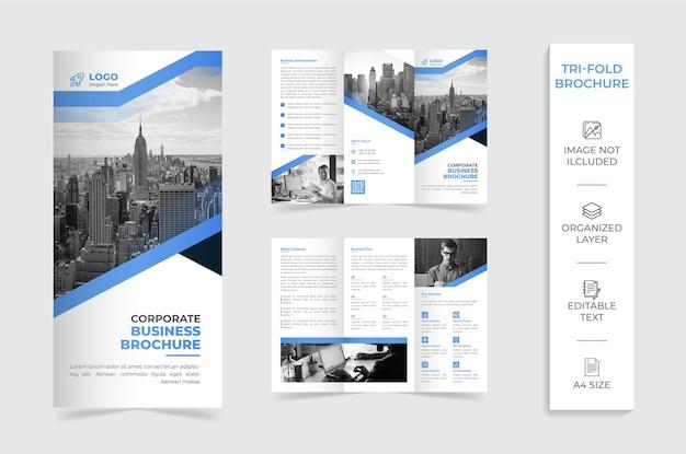 Brochura da empresa com três dobras azuis e brancas