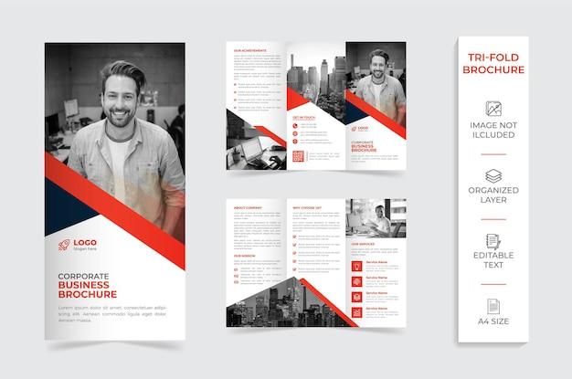 Brochura da empresa com três dobras vermelhas e brancas