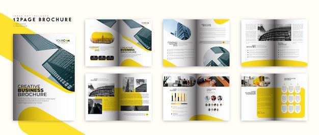 Brochura da empresa em amarelo e preto ou layout do modelo de perfil da empresa