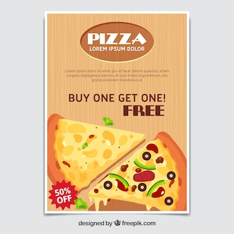 Brochura da oferta de pizza