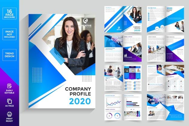 Brochura das páginas de perfil da empresa