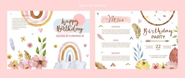 Brochura de aniversário boho em aquarela