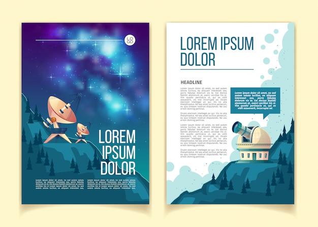 Brochura de astronomia, flyer com equipamento astronômico para observar o céu noturno e estrelas