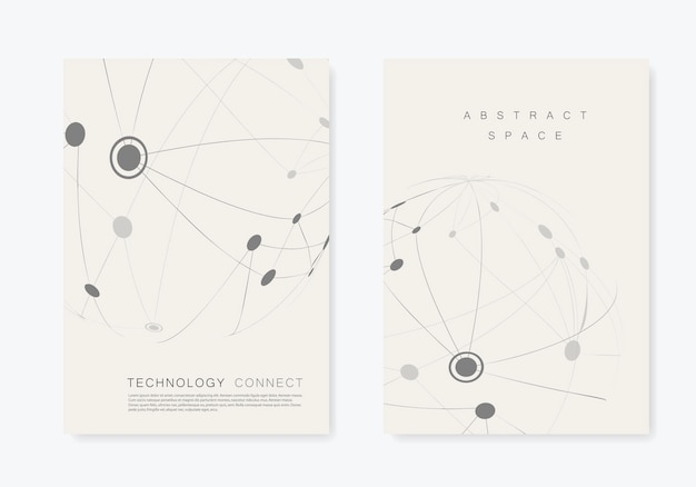 Brochura de capa com linha e pontos conectados
