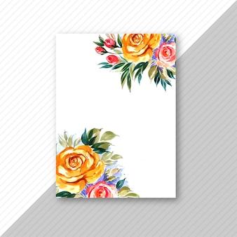 Brochura de cartão de convite de casamento flor decorativa