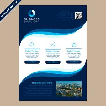 Brochura de curvas azul moderno para negócios