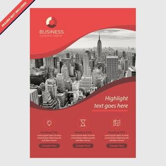 Brochura de curvas vermelhas para negócios