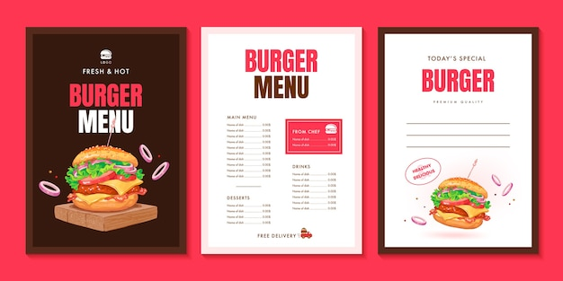 Brochura de design de layout de menu de hambúrguer