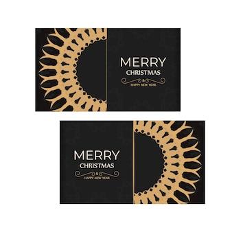 Brochura de feliz natal e feliz ano novo preta com padrão laranja luxuoso