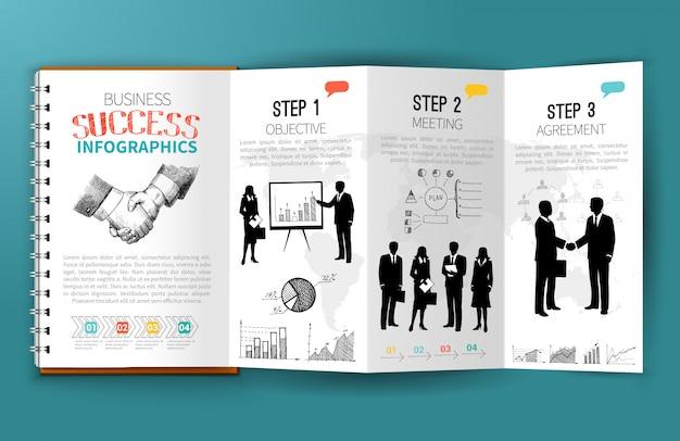 Brochura de infográficos de negócios