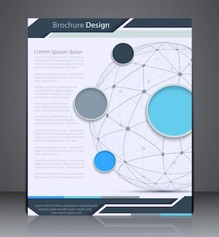 Brochura de layout de vetor com esfera, modelo de design de folheto, web, design com nas cores azuis