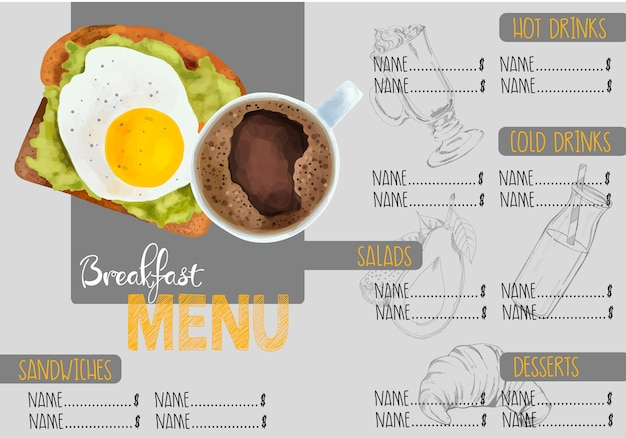 Brochura de menu de café Vetor Premium