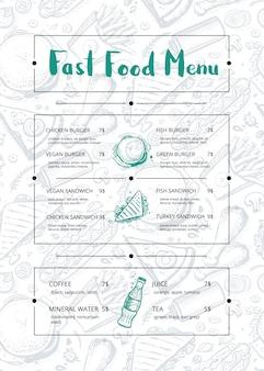 Brochura de menu de restaurante com gráfico desenhado de mão