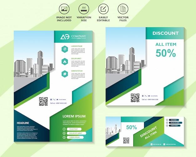 Brochura de modelo de marketing de mídia social panfleto comercial