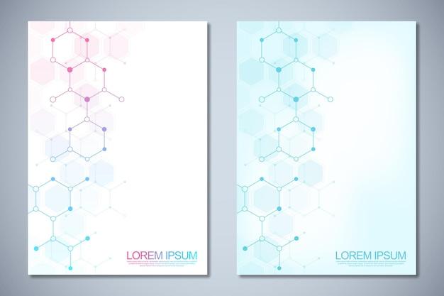 Brochura de modelo ou layout de página de livro de capa design de folheto com estruturas moleculares