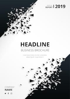 Brochura de negócios abstrata com formas quebradas