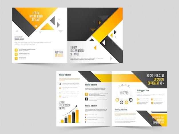 Brochura de negócios bi-fold, modelo ou design de capa na frente e vista traseira.