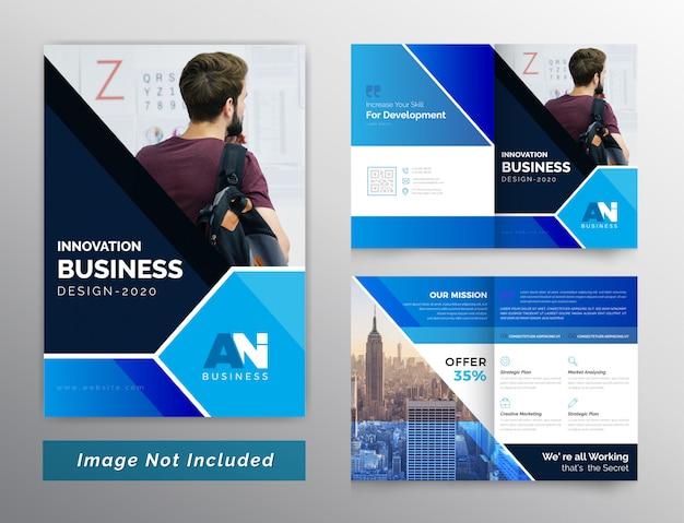 Brochura de negócios bifold abstrata de cor azul