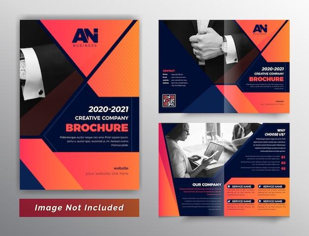 Brochura de negócios bifold de cor vermelha abstrata