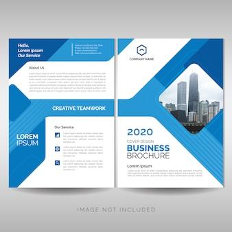 Brochura de negócios com formas geométricas azuis