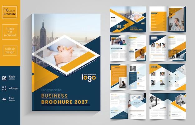 Brochura de negócios corporativos amarelo e preto