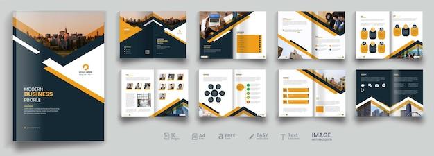 Brochura de negócios de 16 páginas ou modelo de brochura de perfil de empresa duplo premium vector