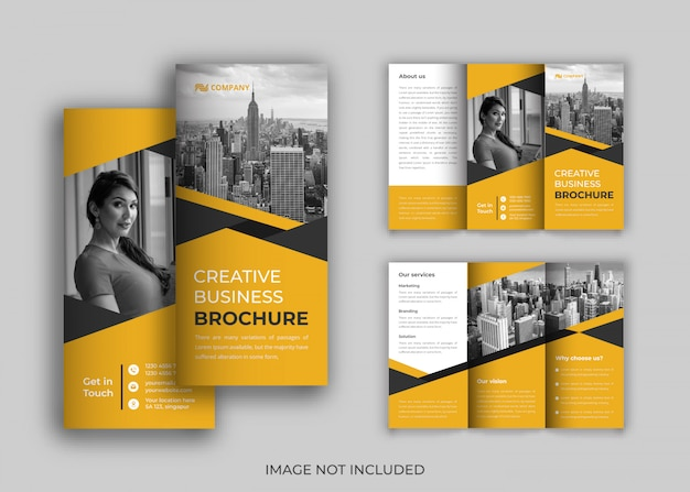Brochura de negócios dobrável em três partes