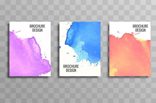 Brochura de negócios elegante colorido conjunto aquarela design