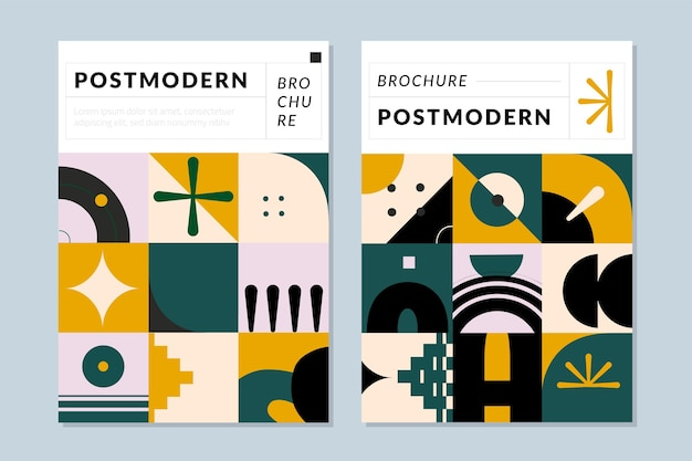 Brochura de negócios pós-modernos cobre a coleção
