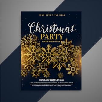 Brochura de panfleto de natal incrível com flocos de neve dourados