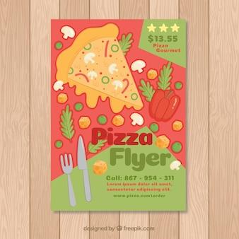 Brochura de pizza com ingredientes