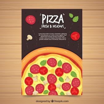 Brochura de pizza com salame