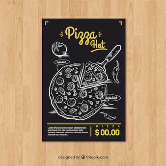 Brochura de pizza desenhada a mão vintage