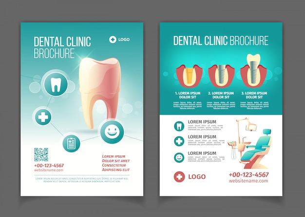 Brochura de publicidade clínica dentária, modelo de páginas de desenhos animados de cartaz.