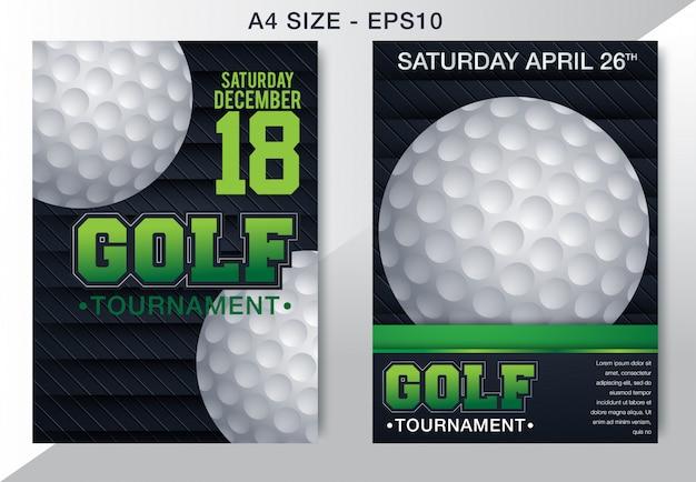 Brochura de torneio de golfe de vetor