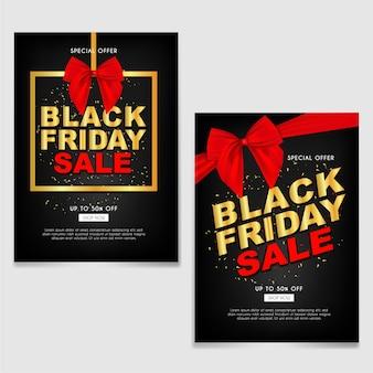 Brochura de venda de sexta-feira negra ou flyer com fita vermelha