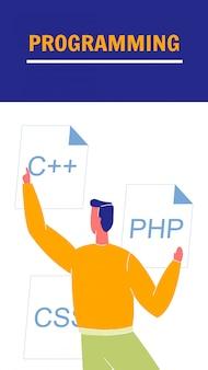 Brochura de vetor plana de programação, flyer com texto