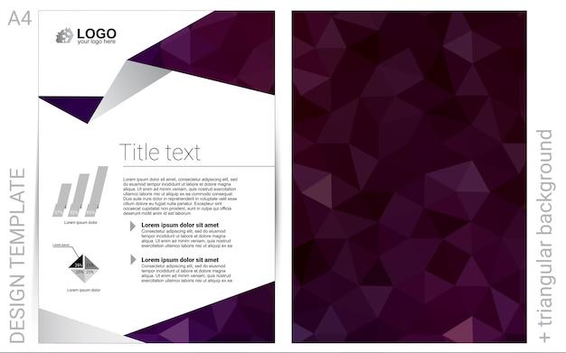Brochura de vetor roxo escuro para design de interface do usuário