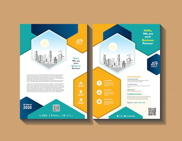 Brochura design capa layout moderno relatório anual cartaz panfleto em a4