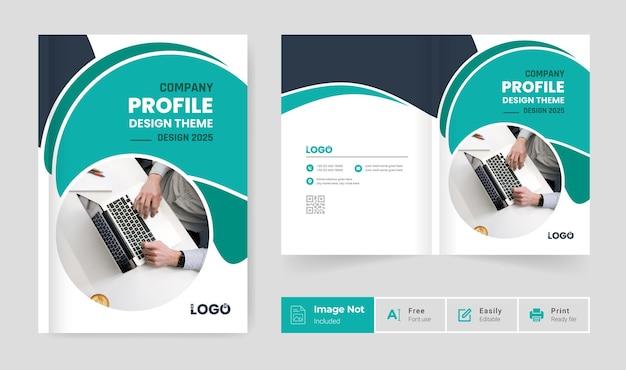 Brochura design modelo de capa perfil da empresa relatório anual página de rosto moderno colorido bi dobra