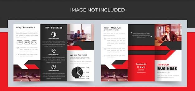 Brochura dobrável em três partes, design de brochura com três dobras de negócios, brochura com três dobras corporativa premium